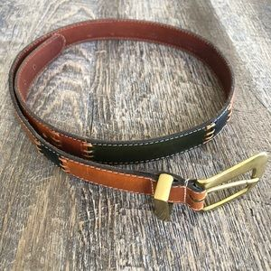 Fossil Leather Brass Patchwork Belt 35""
